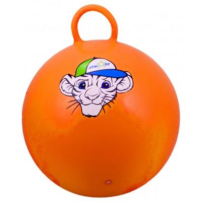 """Мяч-попрыгун """"Тигренок"""" GB-402, 55 см, с ручкой, оранжевый"""
