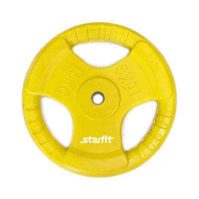 Диск обрезиненный BB-201, d=26 мм, желтый, 15 кг