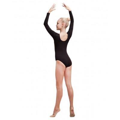 Купальник гимнастический с длинным рукавом, хлопок, черный, р. 30-34