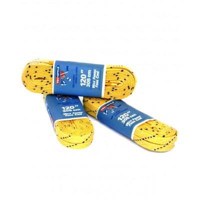 Шнурки для коньков с пропиткой W917, пара, 3,05 м, желтые