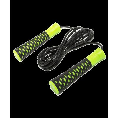 Скакалка RP-103 ПВХ, с нескользящей ручкой, 3,05 м, черная/зеленая