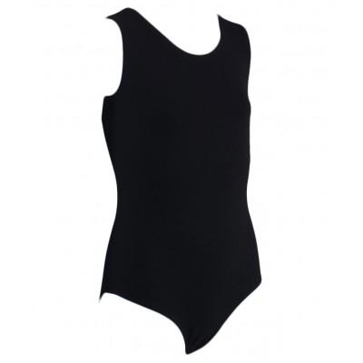 Купальник гимнастический без рукавов, хлопок, черный, р. 30-34
