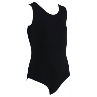 Купальник гимнастический без рукавов, хлопок, черный, р. 36-42