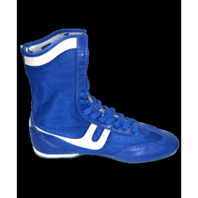 Обувь для бокса, кожа+сетка, синяя
