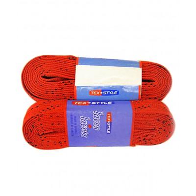 Шнурки для коньков с пропиткой W928, пара, 2,74 м, красные