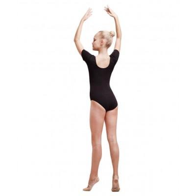 Купальник гимнастический с коротким рукавом, хлопок, черный, р. 44-48