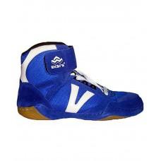 Обувь для борьбы, кожа+текстиль, синяя