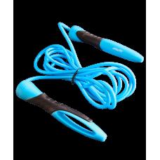 Скакалка RP-104 ПВХ, с эргономичной ручкой, синяя/черная, 3,05 м