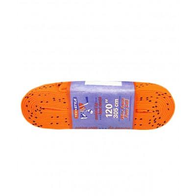 Шнурки для коньков с пропиткой W927, пара, 3,05 м, оранжевые