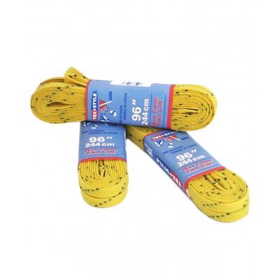 Шнурки для коньков с пропиткой W917, пара, 2,44 м, желтые