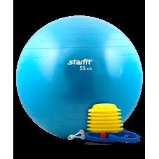 Мяч гимнастический GB-102 с насосом 55 см, антивзрыв, синий